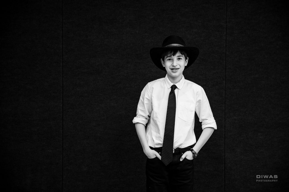Bar Mitzvah young man in fedora